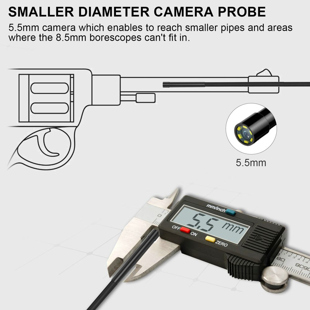 FOXWELL WiFi Endoscope 5.5mm Wireless Borescope Inspection Camera 1080P HD Waterproof with Light for iPhone, Android and Tablet
