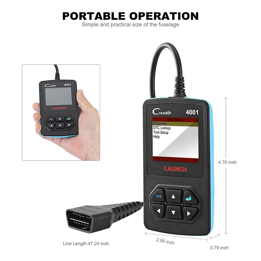 "Launch CReader 4001 OBD2 Code Reader Diagnostic Scanner works with 2.4"" TFT 320*240 dpi color LED display"