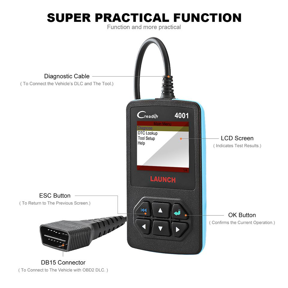 Launch CReader 4001 OBD2 Code Reader Diagnostic Scanner