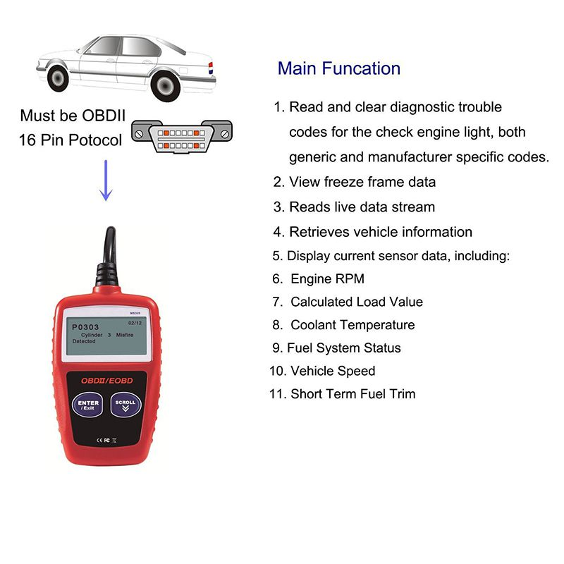 MS309 OBD2 Scanner Car Code Reader