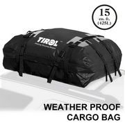 TIROL T24528a Waterproof Roof Top Carrier Cargo Luggage Travel Bag (15 Cubic Feet) For Vehicles With Roof Rails