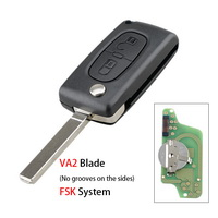 2 Buttons Auto Car Remote Key Fob ID46 Chip For Peugeot 207 307 308 407 807 433MHz VA2 Blade CE0536