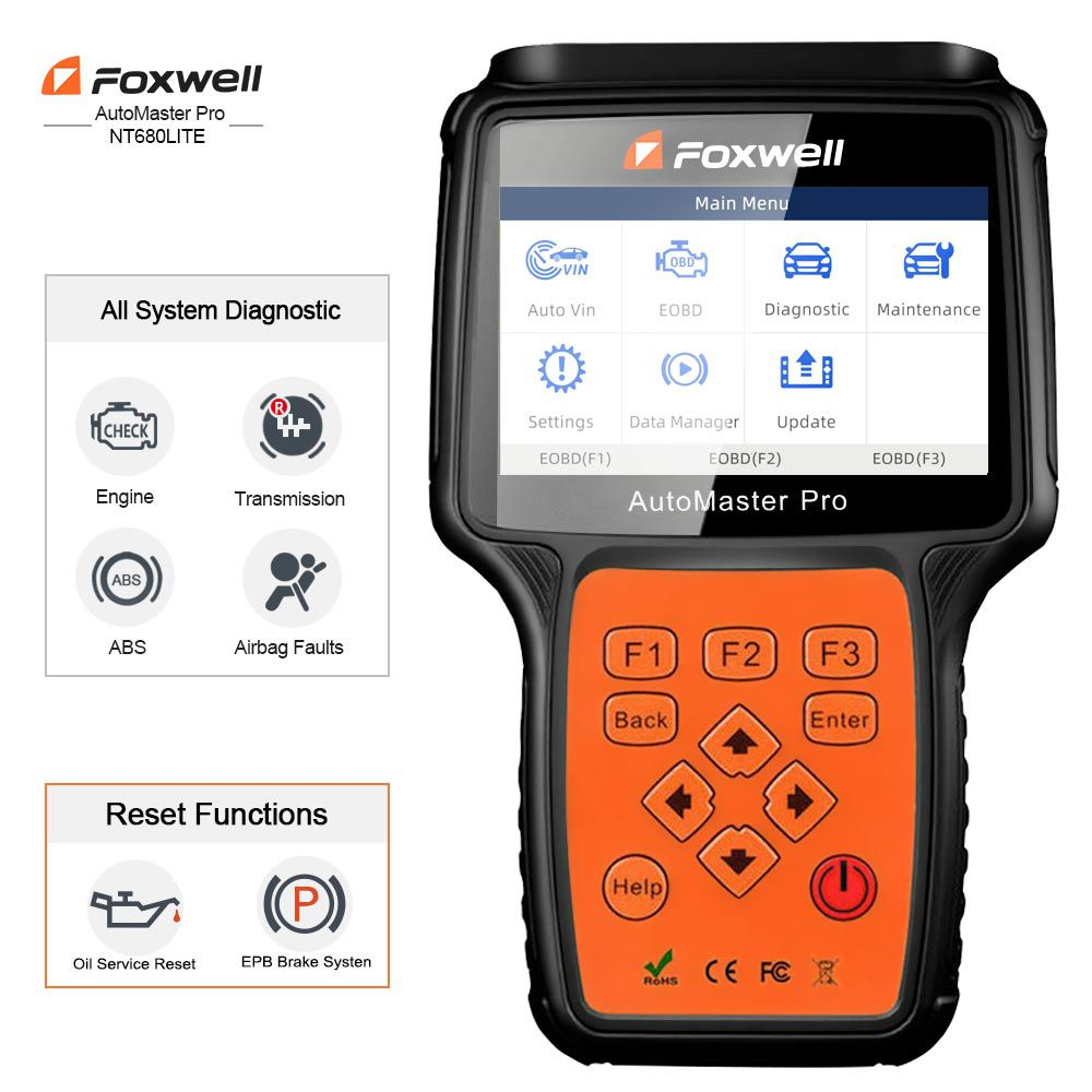 Foxwell NT680 Lite Four-System Scanner with Oil Service Reset+EPB Function